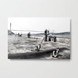 Fishermen And Cats Istanbul Metal Print