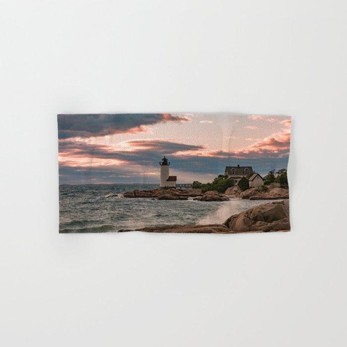 Annisquam Lighthouse sunset Hand & Bath Towel