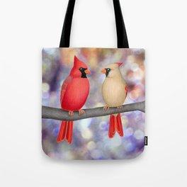 cardinals on a branch - bokeh Tote Bag