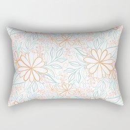Large Flower Pattern in Muted Citrus Orange Turquoise Pink Beige Rectangular Pillow