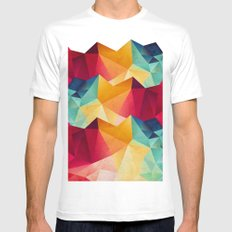 geometric color mountains MEDIUM White Mens Fitted Tee