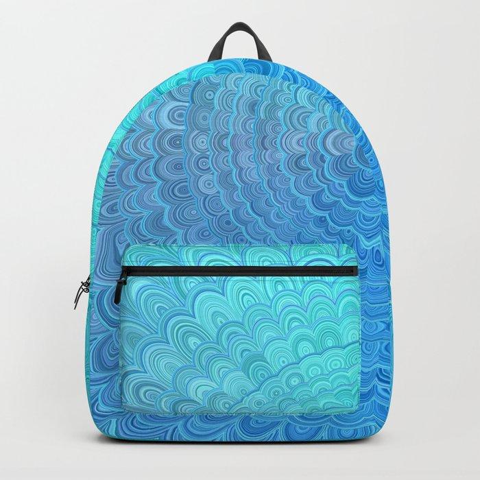 d8d3f6ec43 Light Blue Floral Circle Mandala Backpack by davidzydd