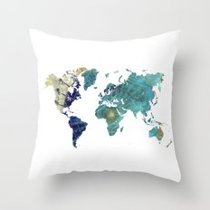 World Map Wind Rose Throw Pillow