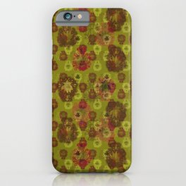 Lotus flower - curry green woodblock print style pattern iPhone Case