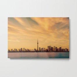 Golden Sunset Cityscape (Color) Metal Print