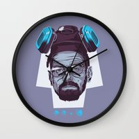 breaking bad Wall Clocks featuring BREAKING BAD by Mike Wrobel