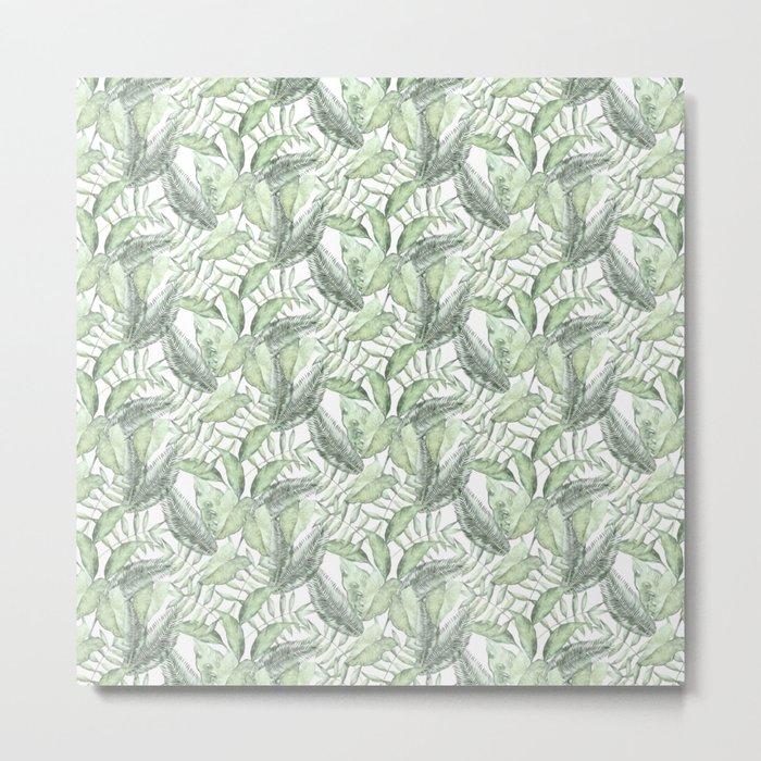 Sage Green Leaves Metal Print