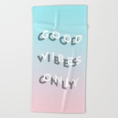 Good Vibes Only - Shadow Gradient - Vaporwave Beach Towel