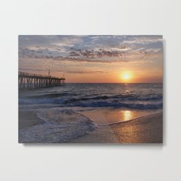 Sun Rising At The Beach Metal Print