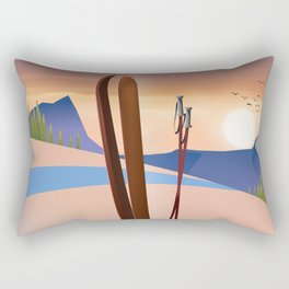 Ski landscape poster Rectangular Pillow