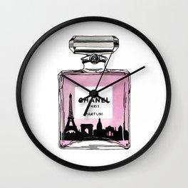 Paris perfume fashion illustration eiffel tower Wall Clock