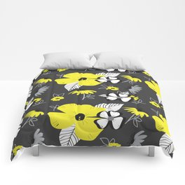 Yellow and Black Drawn Flowers on Gray Comforters