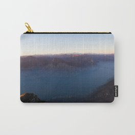 monte baldo garda lake italy drone shot aerial view sunset mountains dust Carry-All Pouch