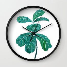 fiddle leaf fig watercolor Wall Clock