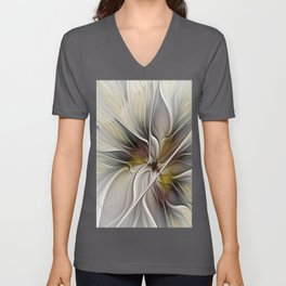 Floral Abstract, Fractal Art Unisex V-Neck