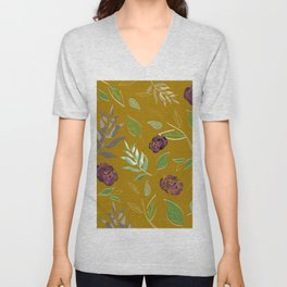 Simple and stylized flowers 12 Unisex V-Neck