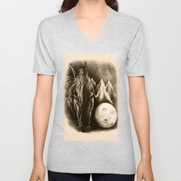 The Dark Side - Surreal Black Horse and Moon Unisex V-Neck