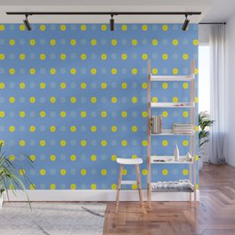Abstract Floral of Yellow Gerberas on Baby Blue Wall Mural