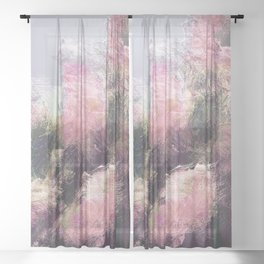 Wild Roses in Motion - Glitch Sheer Curtain