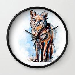 Snowy Fox Wall Clock
