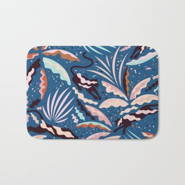 Exotic Wilderness on Blue / Panthers and Plants Bath Mat