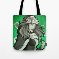 rogue Tote Bags featuring Rogue by Miss-Lys