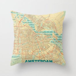Amsterdam Map Retro Throw Pillow