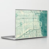 chicago map Laptop & iPad Skins featuring Chicago Map Blue Vintage by City Art Posters