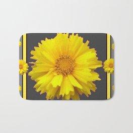 YELLOW & GREY  ART COREOPSIS FLOWERS Bath Mat