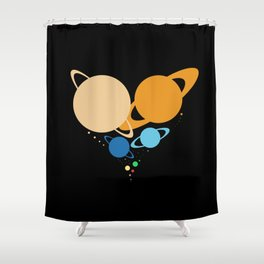 Solar System Heart (to scale) Shower Curtain