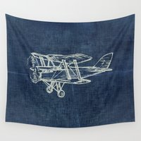 plane Wall Tapestries featuring Plane by Mr and Mrs Quirynen