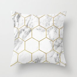 Gold marble hexagon pattern Throw Pillow