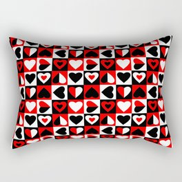 Black White and Red Hearts Pattern Rectangular Pillow