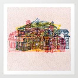 Letterpress Houses 4 Art Print