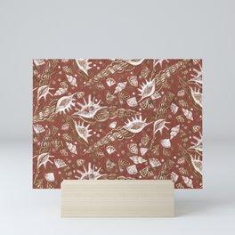 Seashells Sea Shells Underwater Pattern Paper Collage Earth Shades  Mini Art Print