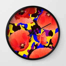 Poppie Camouflage Red Yellow - Living Hell Wall Clock
