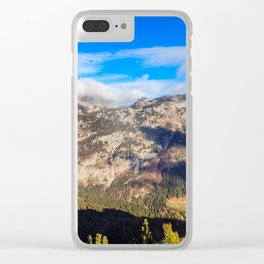 Sunny autumn day at the mount Salinchiet in the italian alps Clear iPhone Case