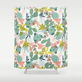 Succulent Garden White Shower Curtain