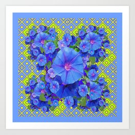 Lime-Blue Morning Glories Pattern Art Art Print