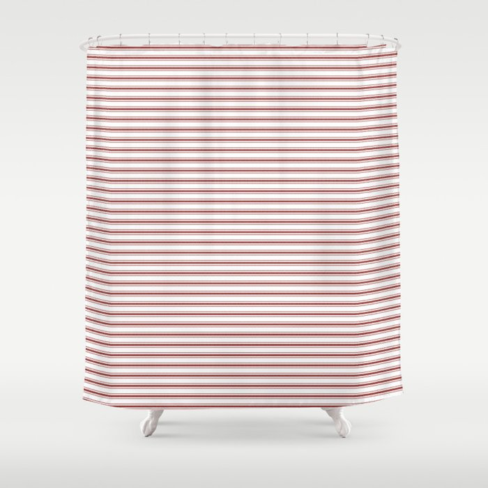 Vintage New England Shaker Barn Red Milk Paint Mattress Ticking Horizontal Narrow Striped Shower Curtain