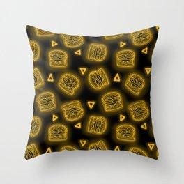 Neon Future Burgers in Yellow Throw Pillow