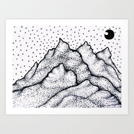Moonlight Mountain Art Print