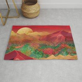 """""""Tropical golden sunset over fantasy pink forest"""" Rug"""