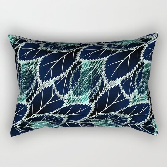 Bright turquoise leaves on a black background. Rectangular Pillow