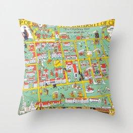 CHICAGO University map ILLINOIS  dorm Throw Pillow