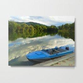 Motor boat on the lake Metal Print