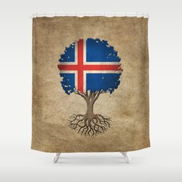 Vintage Tree of Life with Flag of Iceland Shower Curtain