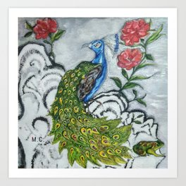 Peacock and Frog Art Print