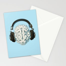 Mind Music Connection /3D render of human brain wearing headphones Stationery Cards