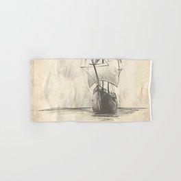 Vintage hand drawn galleon background Hand & Bath Towel
